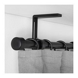 IKEA - BETYDLIG, Wall/ceiling bracket, black,  , , Curtain rod holder position can be adjusted, allowing curtains to be hung either close to the…