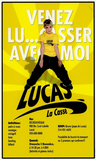 Invitation for Lucas's party