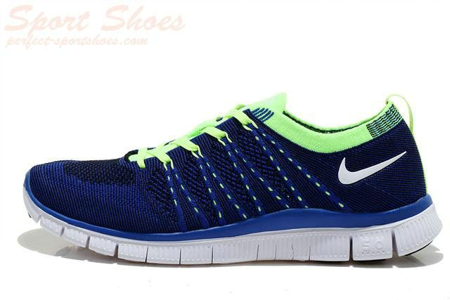 2d1746da6653 2015 Authentic Nike Free 5.0 Flyknit Men Running Shoes Navy Blue Green
