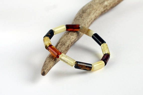 Multicolored Baltic Amber Bracelet Elegant Genuine Amber