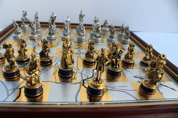 Civil war chess set gold silver franklin mint rare vintage collectible edition collector - Collectible chess sets ...