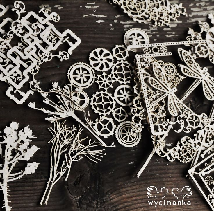 steampunk lasercut chipboards from Wycinanka