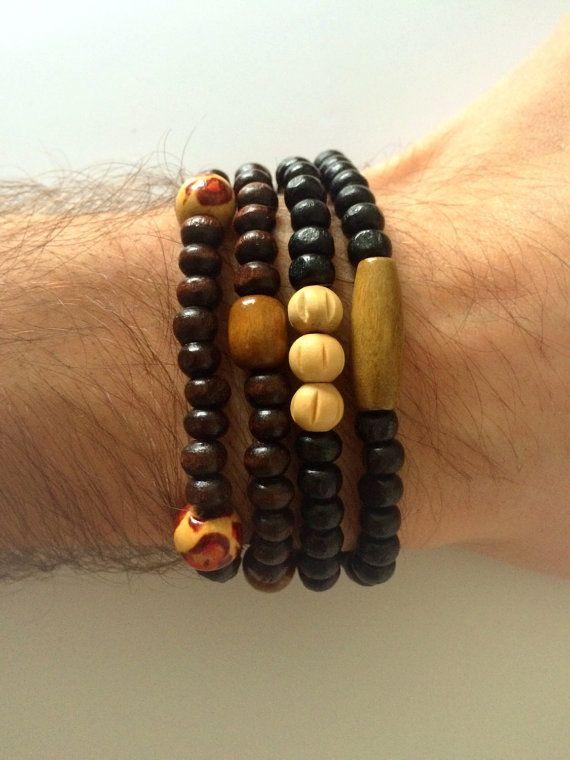 Wood Beads Bracelet Mens Bracelet Wood Bracelet by DanusHandmade