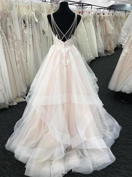 Shinning Sequins Lace Top Deep V Neck Open Back Organza Wedding Dresses, BW0580