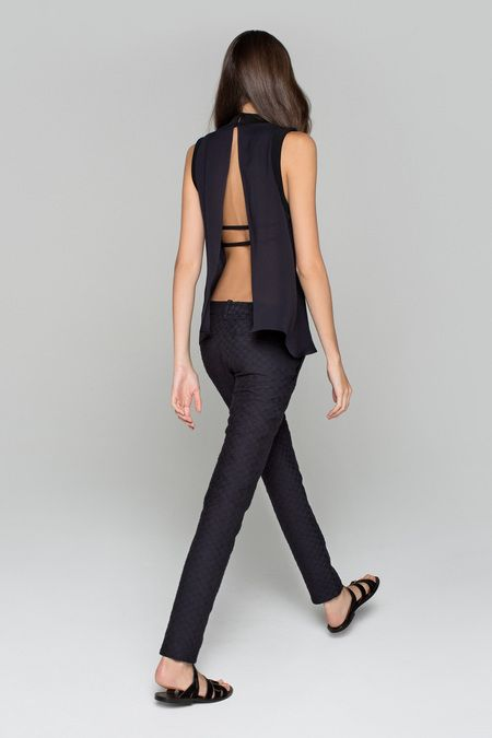 A.L.C. navy top and trousers / pants combo with sexy open back.