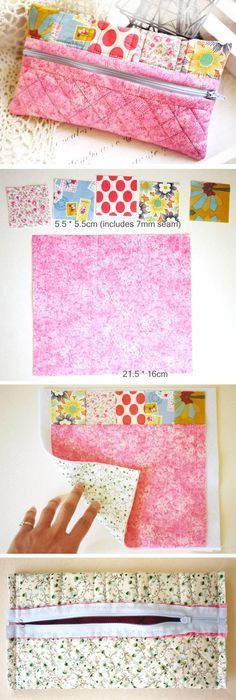 Pencil Box Fabric Patchwork. Sewing Craft Ideas. http://www.handmadiya.com/2015/08/pencil-box-fabric-patchwork.html