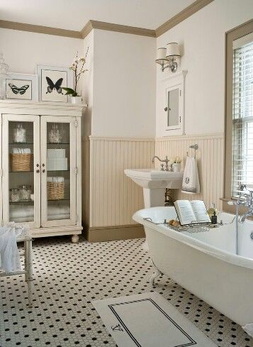 Love the bathroom textures and patterned flooring-Houzz