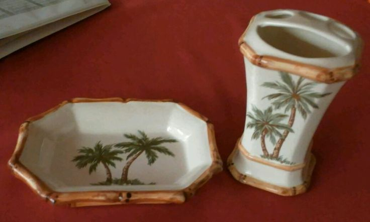 Spring Maid Ceramic Set Toothbrush Holder Soap Dish Palm Trees Tropical Bathroom #SpringMaid