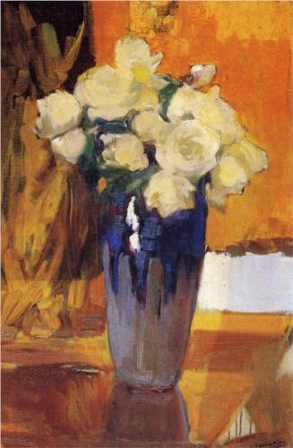 White Roses from the House Garden - Joaquín Sorolla
