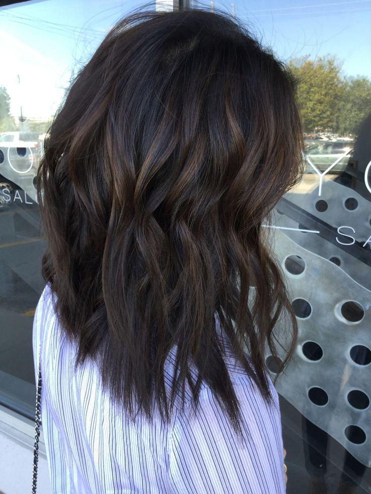 Trendy Hair Highlights : Soft deep caramel balayage on dark brown hair. Dimensional brown hair