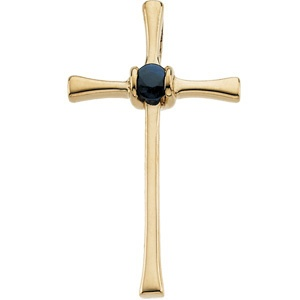 14K Yellow Gold Cross Pendant W/sapphire $593.95