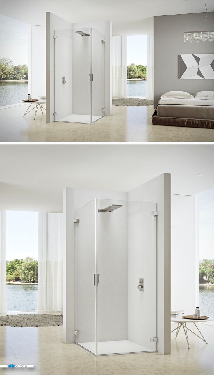 pura 5000 •  This shower enclosure is a corner solution with two pivot doors. It features maximized entrance width, or the possibility to clap the glass doors back in order to use the area of the shower enclosure as open bathroom space.