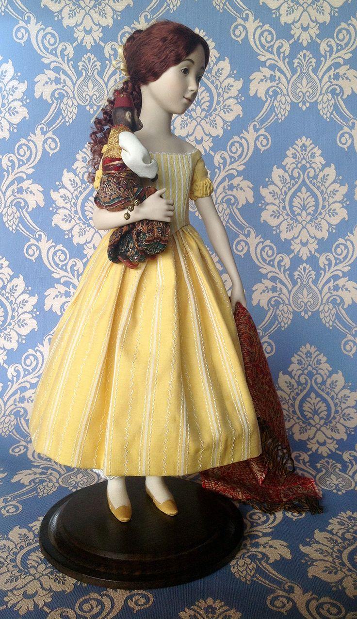 VERA (A.Koukinova) Bambina in porellana  della metà degli anni 40 del secolo 19° Il vestito di cotone è decorato con ricami di seta. La sottoveste e la biancheria adornaticon pizzo antico. Le scarpe sono fatte di seta naturale. Calze - jersey di viscosa. Vestito orientale della scimmia è decorato con perline, srtasses, Lustrini e cordoni. La parrucca è fatta di mohair. Dipinto a mano. Porcellana di bisquit. Edizione limitata a 35;40 cm in altezza