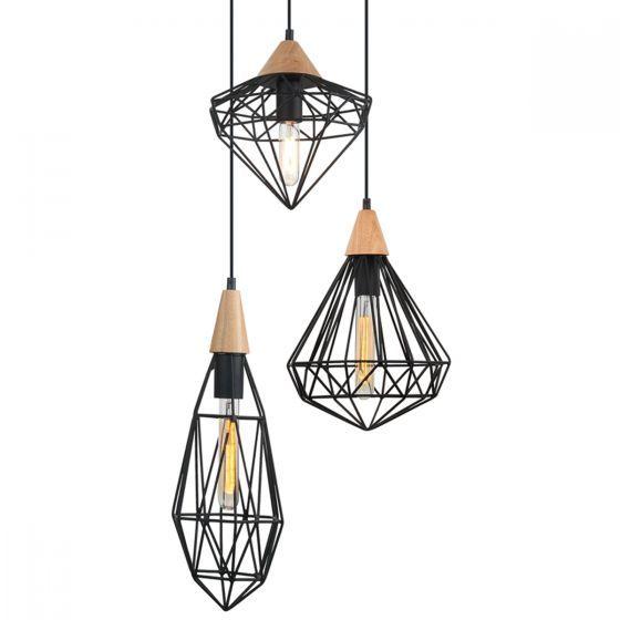 Lampada Triangolo 3 Light Cluster Metal Cage & Timber Pendant
