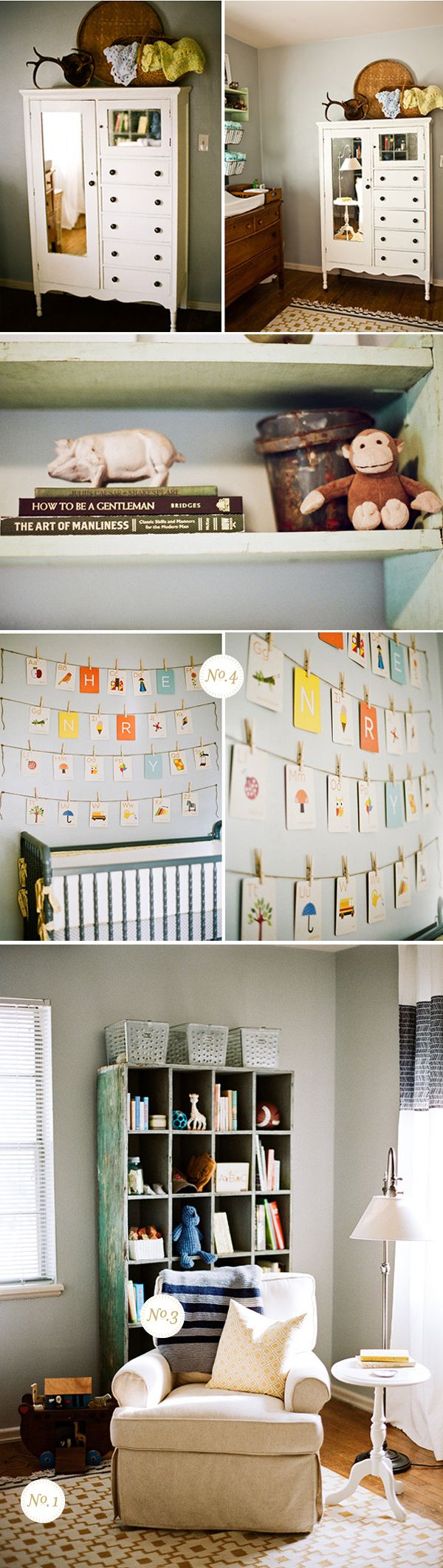 Lay Baby Lay: real nursery: henry's thoughtfully vintage room. I like these colors for MY bedroom. haha
