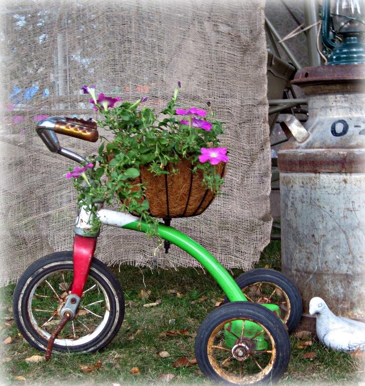 Vintage Tricycle Planter / Plant holderYard by ReclaimedGrace