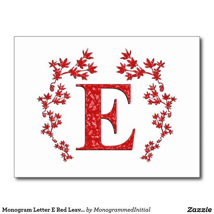 Folhas do vermelho da letra E do monograma Cartão Postal