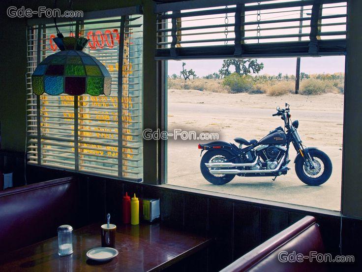 Harley-Davidson, café, uitzicht, venster, tafel, kroonluchter