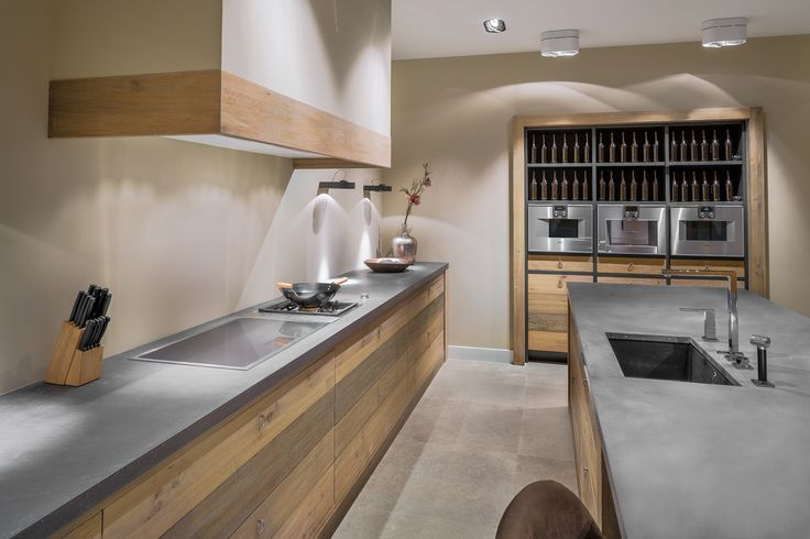 Een robuust eikenhouten blok met betonnen werkblad deze eenvoudige basis zorgt voor een - Onderwerp deco design keuken ...