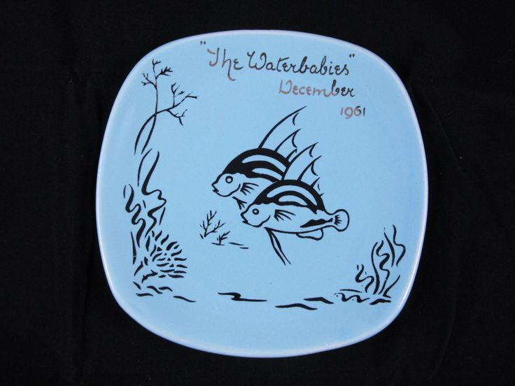 Vintage Drostdy Ware Decorative Plate with Fish&Seaweed  Pattern  and 'The Waterbabies December 1961' Gold Inscription by ArtVintageCraftShop on Etsy