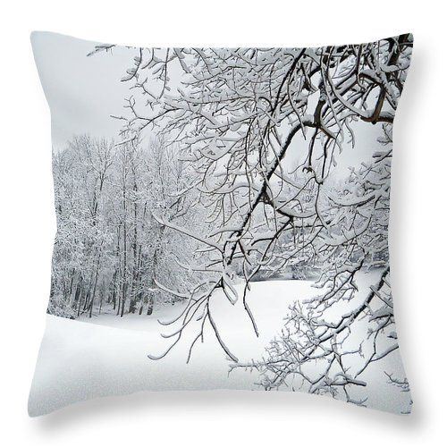 Snowy Branches Throw Pillow for Sale by Aimee L Maher Photography  Visit ALMGallerydotcom.  Pillows are made from 100% spun polyester poplin fabric and add a stylish statement to any room. They are available in sizes from 14x14  to 26x26. Each pillow is printed on both sides (same image) and includes a concealed zipper and removable insert (if selected) for easy cleaning. Be sure to use the Cropping Tool when ordering pillows to ensure the photo is centered to your liking