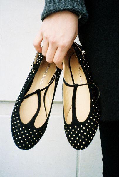 marais.: Ballet Flat, Tbar Flat, Polka Dots, Studded Flats, Polka Dot Shoes, T Bar Flat, Flat Shoes, Polkadots