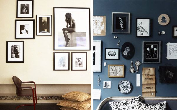 How to hang art and pictures with different sized frames