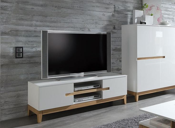 Sandrine Contemporary High Gloss White and Oak TV Unit
