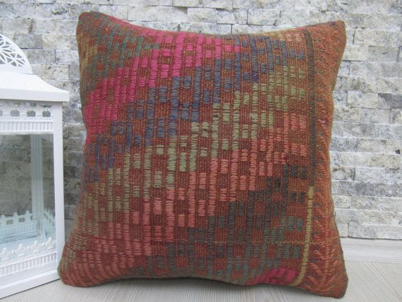 handmade kilim pillow 16 x 16 decorative couch pillow bedding pillow bohemian pillow aztec pillow 16x16kilim pillow asian pillow boho pillow