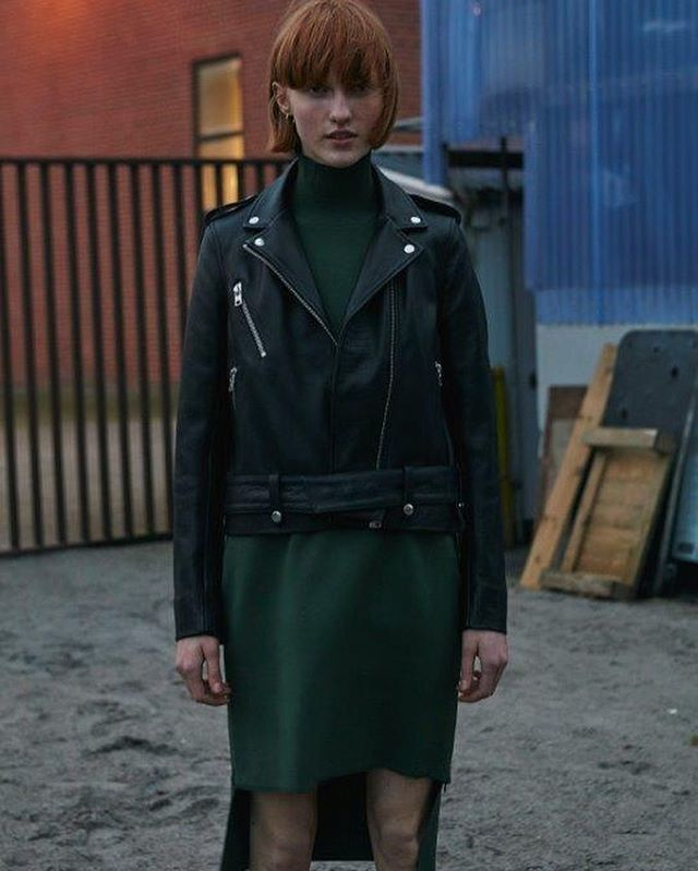 Won Hundred Skye leather jacket and jungle green Gina dress available in stores and on www.wonhundred.com #wonhundred #aw #newin