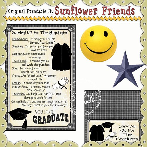 Graduate Survival Kit....Printable Set | Survival Kits ...