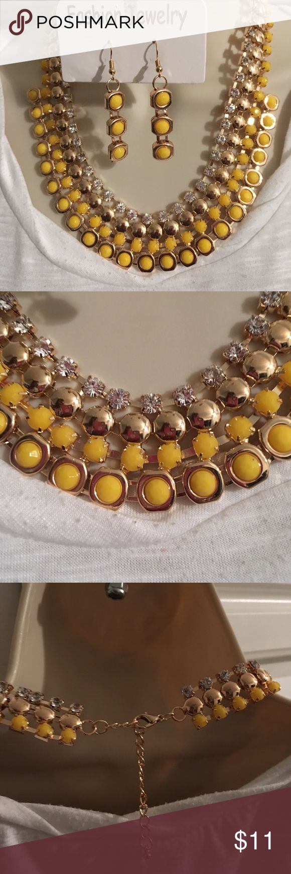 """Yellow Flat Beat Rhinestone Jewelry Set Gold Plated Alloy, Acrylic, Hook Earrings 2""""L Jewelry Necklaces"""