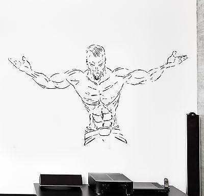 Wall Stcker Sport Bodybuilding Bodybuilder Muscle Guy Vinyl Decal (z3072)