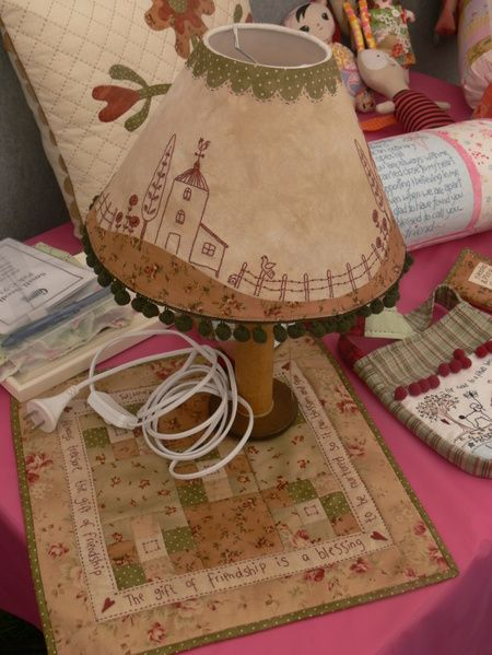 Gail Pan table runner and lamp