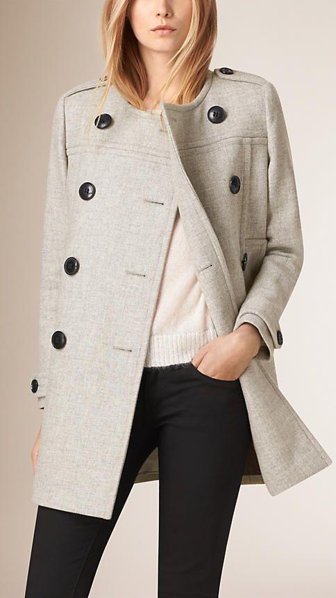 Pale grey melange Collarless Wool Blend Coat - Image 2