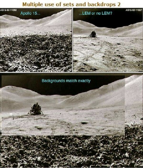 Another anomaly was uncovered during the Apollo 15 mission where the same, identical background was used for two different pictures in which...