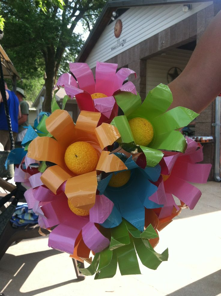 Home made wedding bouquet made from Solo cups! We made it from Solo cups, styrofoam balls, light gage wire and craft paint.