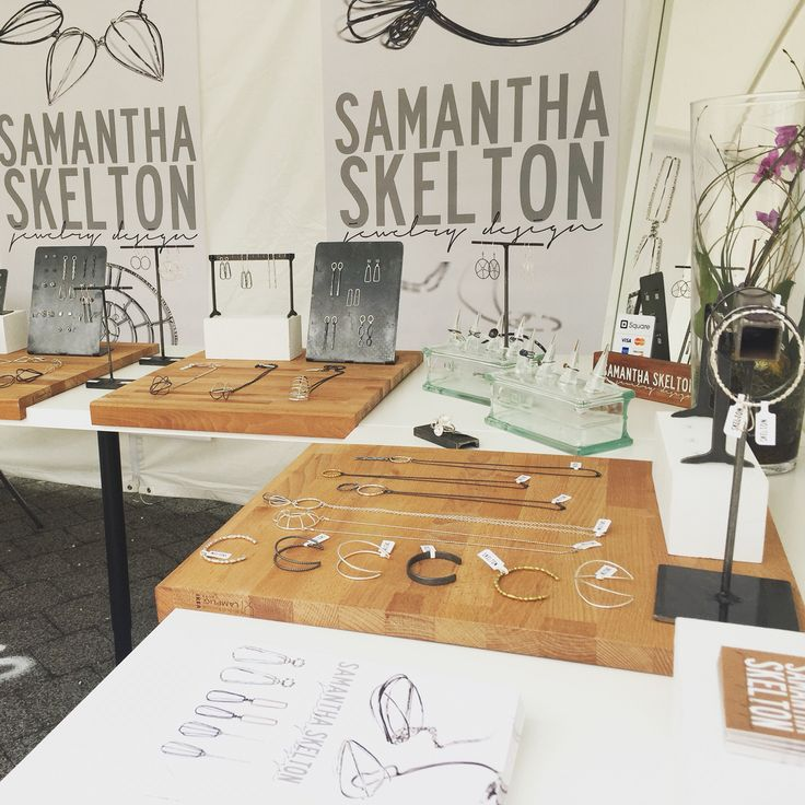 Steel and wood, jewelry display that is industrial and simple by Samantha Skelton   notice ikea cutting boards, beautiful contrast of materials and colors