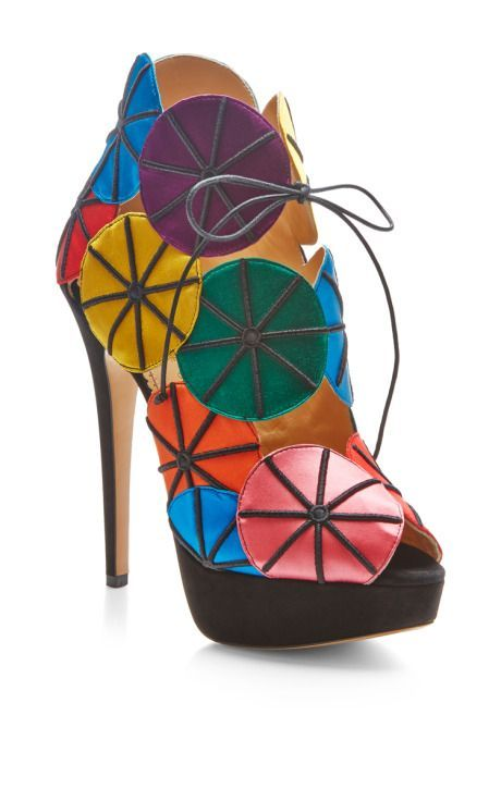 09f7a04cc752 Parasol Satin and Suede Platform Sandals by Charlotte Olympia - Moda  Operandi  CharlotteOlympiaHeels