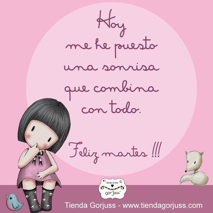 Hoy me he puesto una sonrisa que combina con todo    ¡¡Feliz Martes!!  #gorjuss #santorolondon #felizmartes #frasedeldia