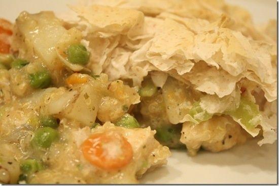 Chicken Pot Pie Casserole (Healthy! With quinoa and fillo dough)