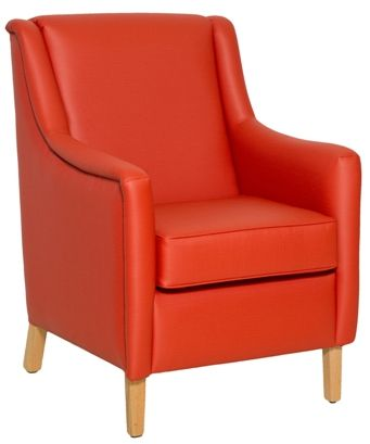 A and B Unit's - Healthcraft: Jewel medium back lounge chair with square arms and timber legs. Incontinence gap. Vinyl and Fabric.