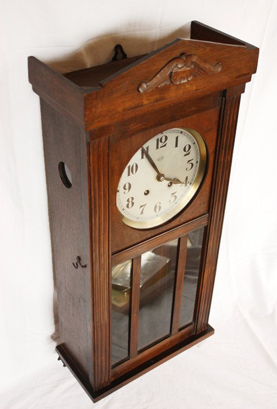 Beautiful Antique French Vedette Chime Wall Clock 1910