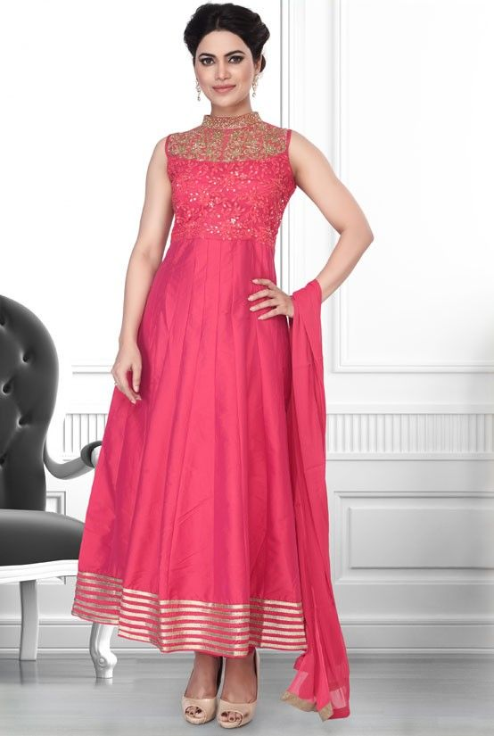French Rose Pink Readymade Anarkali Suit