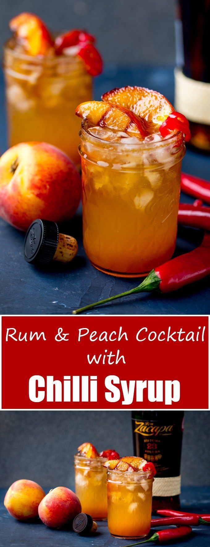 Rum and Peach Cocktail with Chilli Syrup - a spicy, refreshing drink for a warm Summer's evening!