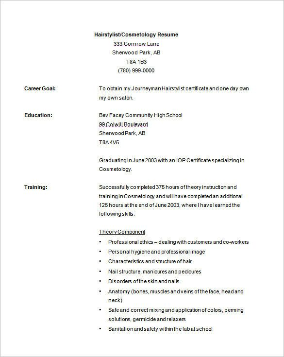 cosmetology resume template free sample cosmetologist