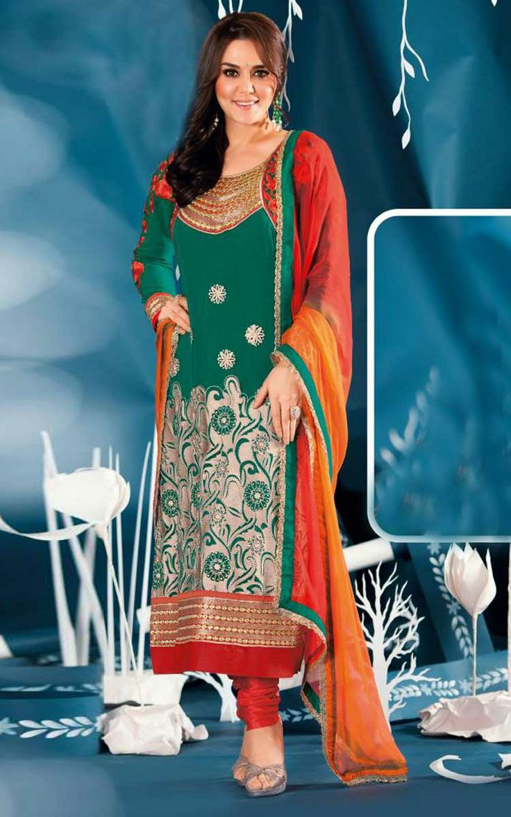 GREEN & RED GEORGETTE EMBROIDERED SALWAR KAMEEZ - ZIN 9010