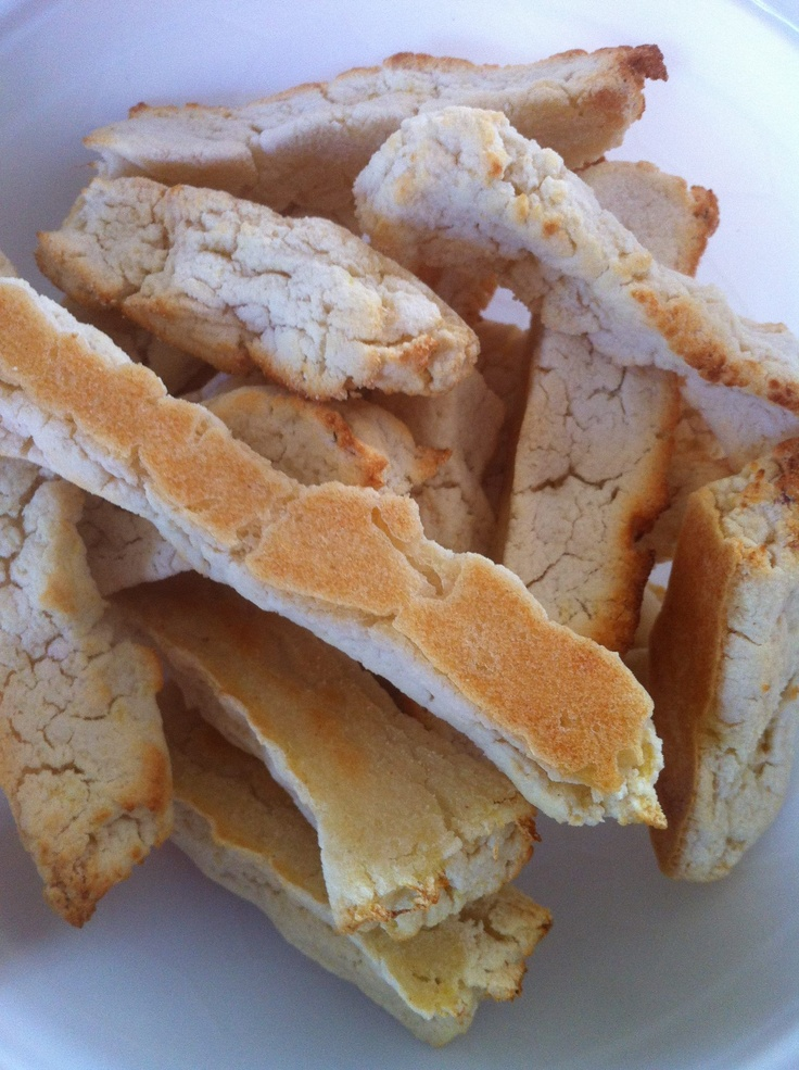 Homemade Rusks... 1 cup rice flour, 1 cup puréed apple and pear enough water to make it a hard dough (about 100mls) cut into rusks & into the oven on 150 for 30 mins.