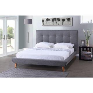 Baxton Studio Jonesy Scandinavian Style Mid-century Beige Linen Fabric Upholstered Platform Bed | Overstock.com Shopping - The Best Deals on Beds