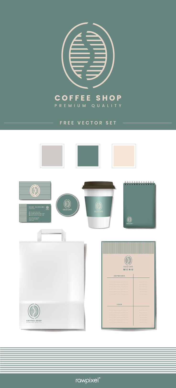 Download These Free Vectors Of Coffee Shop Mockup Set At Rawpixel Com Coffee Shop Logo Design Corporate Identity Mockup Coffee Shop Branding